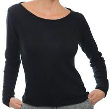 Balldiri 100% Cashmere Kaschmir Damen Pullover Rundhals 2-fädig schwarz XL