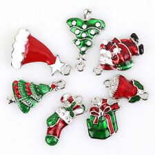 14pcs New Assorted Christmas Charms Plated Rhodium Enamel Gifts Alloy Pendants J