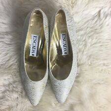 ESCADA Vtg 80's Shoes Pumps Heels 7.5 B Gold and White Crackle Textured