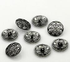 10 Pcs Sewing Metal Buttons Flower Carved Gunmetal Hollow 20mm - (32)