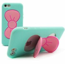 For iPhone SE 5S HARD TPU RUBBER SKIN CASE COVER MINT BLUE PINK HELLO KITTY BOW