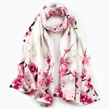 100% Silk mulberry Women 68x20 Satin Scarf Large Shawl long Wrap pink S121-004-Y