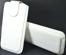 Leather Slip In Pull Up Hand Pouch Case +Strap For  Philips Xenium W6610 WHITE