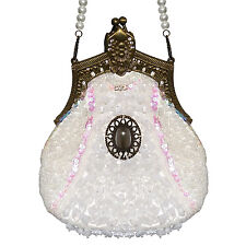 Womens Ladies New Vintage Ivory Beaded Glamorous Evening Cocktail Party Handbag