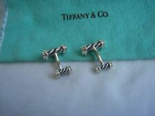 TIFFANY & CO. STERLING SILVER AND BLUE ENAMEL STRIPED CUFF LINKS!