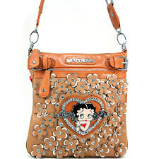 Classic Betty Boop Messenger Bag with Rhinestone Florets - Tan