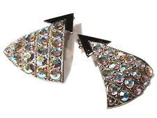 Bijou alliage argenté boucles d'oreilles Zoé Coste triangle Swarovski   earrings