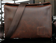 Men's retro Vintage Leather Messenger Shoulder School Satchel Hiking phone  Bag