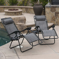 2 Lounge Chair Outdoor Zero Gravity Beach Patio Pool Yard Folding Gray Recliner