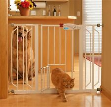 Carlson Extra Wide Walk Thru Gate Fence With Pet Dog Cat Door White Free Shippin