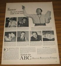 1947 Print Ad ABC Radio Friday Shows Lone Ranger,The Fat Man,Bert Parks