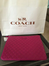 NWT Authentic Coach F66429 Tech Pouch ipad Clutch PINK LEATHER QUILTED Case $138