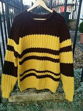 Vtg Chunky Wool Striped Punk Ramones Beatnik Andy Warhol Style Jumper.Med-Large