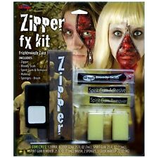 Halloween Fancy Dress Zombie Zipper Face Make Up Set & Sponges Zip Kit #3093 New