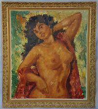 Antiquität Ölgemälde Portrait Frau Nackte Erotik Expressionismus Ölbild schön