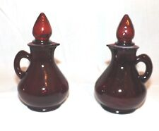 2 Vintage Avon Ruby Red Glass Cruets w Strawberry Stopper Lids Decanters Pitcher