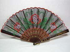 Vintage oriental folding fan roses colorful black embroidered Women's gift