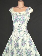VINTAGE POLY STYLE SWEET VIOLET DAISY ROSE VALENTINE BEAUTY 50S STYLE DRESS 14
