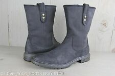 UGG ITALIAN COLLECTION VIGO BLACK ANTIQUED LEATHER PULL ON MENS  BOOTS  US 9 NEW