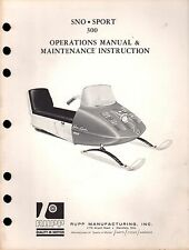 1967?? RUPP SNOWMOBILE SNO-SPORT 300 OPERATIONS OWNERS MANUAL NICE  (035)