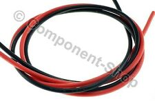 12AWG Silicon Wire. Super flexible high temperature 1m Red & 1m Black. UK seller