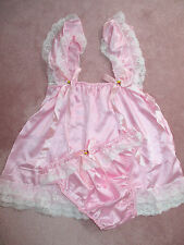 PRETTY BABY DOLL  SATIN SISSY DRESS AND PANTY  SIZE 2X PINK COLOR ONLY