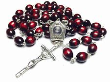 HOLY WATER FROM LOURDES RELIC CHERRY WOODEN ROSARY BLESSED BY POPE FRANCIS GIFT