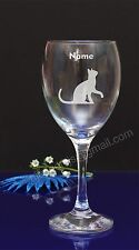 Personalised Cat engraved wine glass Birthday,Christmas gift present192