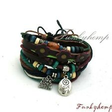 3 Hemp Leather Bracelets w Live Love Laugh Charm & Leather Cut Flower W10-3