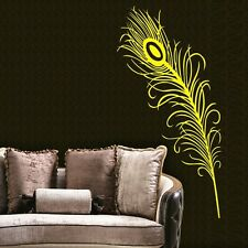 One Peacock feather Wall Decor Removable Vinyl Decal Kids Sticker Art DIY Mural
