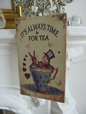 Alice in Wonderland Mad Hatter Wooden Plaque  it's always time for tea