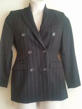 Lord & Taylor Double Breasted 100% Wool Black Pinstripe Blazer Suit Jacket #A114