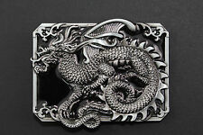 RECTANGULAR BLACK CHINESE DRAGON BELT BUCKLE METAL CALENDAR TRADITIONAL FANTASY