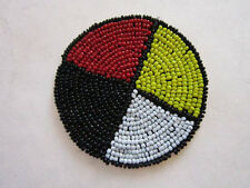 "3"" GLASS BEADED 4 DIRECTION MEDICINE WHEEL  ROSETTES CRAFTS  POW WOW"