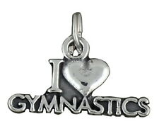 I Love Gymnastics Charm Sterling Silver Pendant Gymnast Sports Heart
