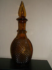 Decanter, Amber Art Glass, Jeannie Bottle, Diamond Cut Hobnail, Nice!!