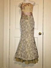 �� Rare Vintage Alberto Makali Steampunk VictorIan Mermaid Lace Brocade Gown 4