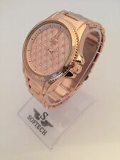 Rose Gold Tone Diamante Ladies Watches Women Bracelet Softech Quartz Wrist Watch
