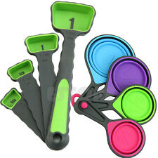 8pcs Silicone Measuring Cups Spoon Collapsible Kitchen Cooking Baking Tool Set