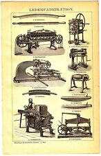 1894 Old Leather Fabrication Machine Leatherworking Antique Engraving Print