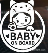 CUTE KITTY GIRL BABY ON BOARD CAR WINDOW BUMPER STICKER