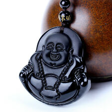 Natural Obsidian Hand Carved Coin Buddha Lucky Pendant  Beads Necklace
