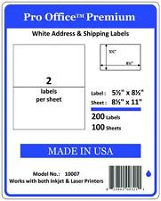 """PO07 250 Sheets/500 Labels Pro Office Self-Adhesive shipping Label 8.5"""" x 5.5"""""""