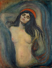"Edvard Munch 1894, Antique painting, MADONNA, Nude Woman, ART, 20""x14"" CANVAS"