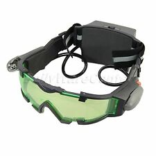 Battery Night Vision Green Tinted Lens Adjustable Elastic Band Goggles Glasses