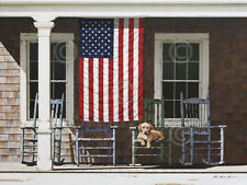 American Flag by Zhen-Huan Lu Art Print Poster Patriotic Country Porch Dog 13x19