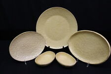 """5 Pc Noemi Ceramiche Handcrafted YELLOW Dimpled 9"""" Serving Dishes, Umbria Italy"""