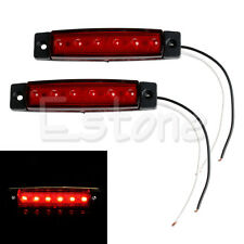 2PCS 12V 6 LED Truck Boat BUS RV Trailer Side Marker Indicators Light Lamp Red