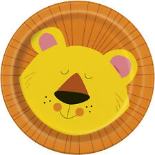 ANIMAL JUNGLE SMALL PAPER PLATES (8) ~ Birthday Party Supplies Cake Dessert Lion
