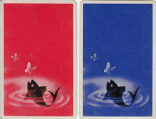 Vintage Swap/Playing Cards - 2 SINGLE-  FISH AND BUTTERFLY